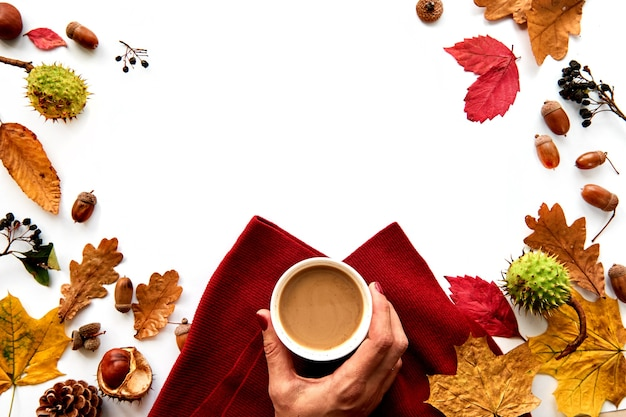 Autumn frame made of dried leaves, pine cones, berries, acorns, warm scarf and hand with cup of coffee on white background. template mockup fall, halloween. flat lay, copy space background.