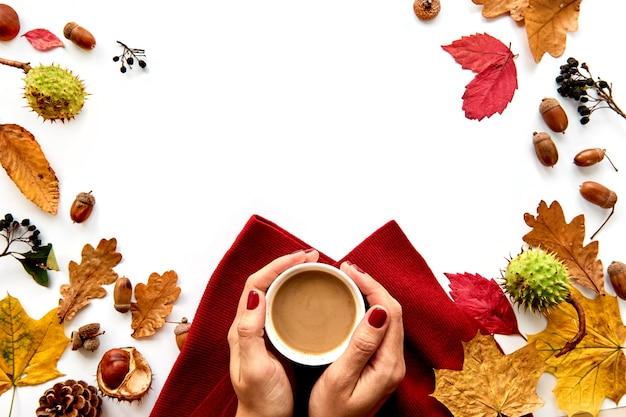 乾燥した葉と食材で作られた秋のフレーム