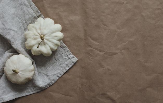 白いカボチャとカボチャで作られた秋のフレーム上面図コピースペース秋のハロウィーン感謝祭コン...