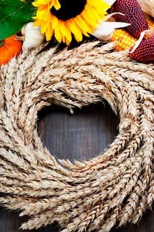秋のフレーム。感謝祭の日、収穫または秋のコンセプト