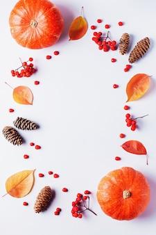 秋の葉、ナナカマドの果実、オレンジ色のカボチャ、パステル調の背景に松ぼっくり、フラットレイアウト