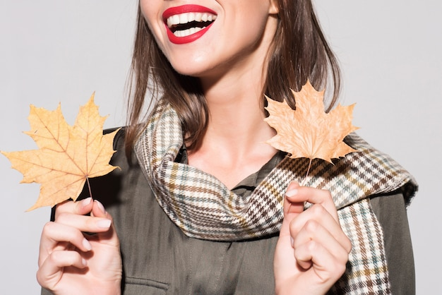 Autumn girl preparing for autumn sale. sale for entire autumn collection, incredible discounts and