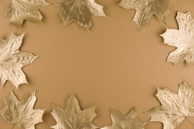 Autumn golden maple leaves isolated on beige