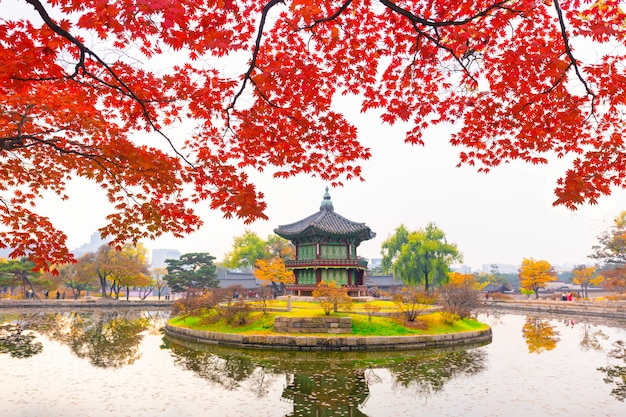 Autumn in  gyeongbokgung palace, hyangwonjeong pavilion, in seoul,south korea.