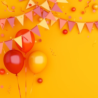 Autumn or halloween background decoration with orange balloon and bunting garland flag