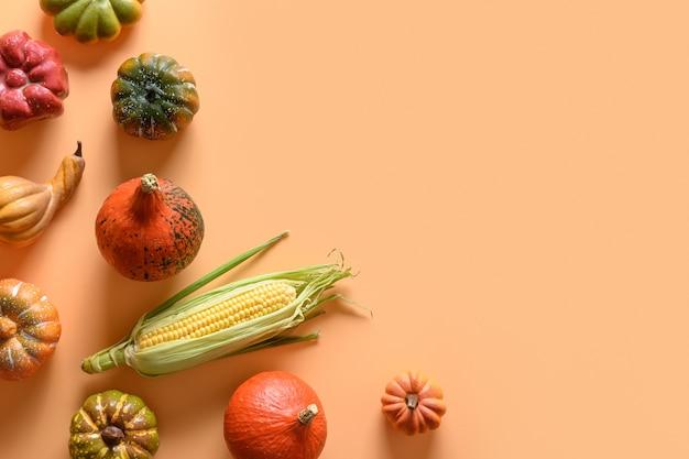 Осенний урожай, красочные тыквы, кукурузный початок на оранжевом фоне. день благодарения и украшение хэллоуина. вид сверху. место для текста.