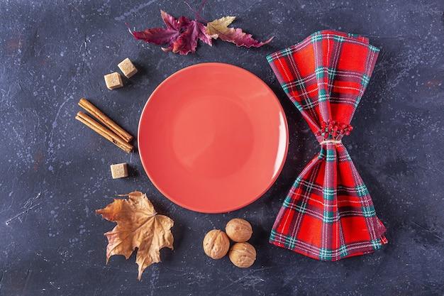 秋の収穫祭と感謝祭のテーブルセッティング。