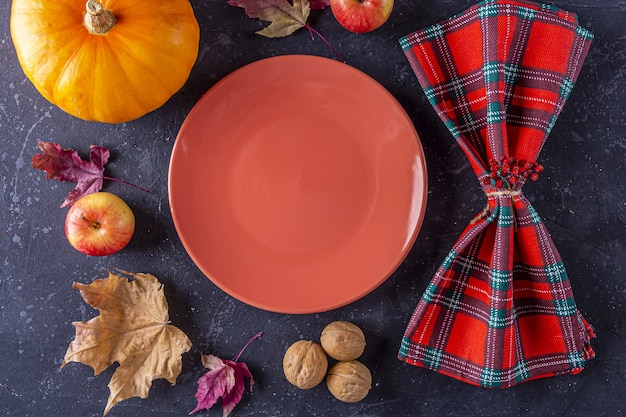 Autumn harvest festival and thanksgiving day table setting