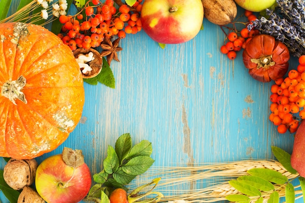 Autumn harvest frame over blue background