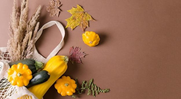 茶色の背景、フラットレイ、コピーテキストのエコバッグでスカッシュとスカッシュの秋の収穫