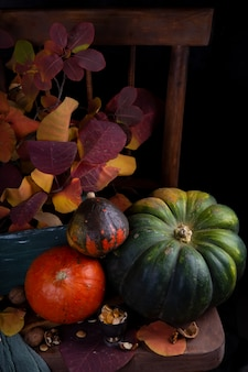 Autumn harvest of pumpkins on a dark wooden table with autumn leaves