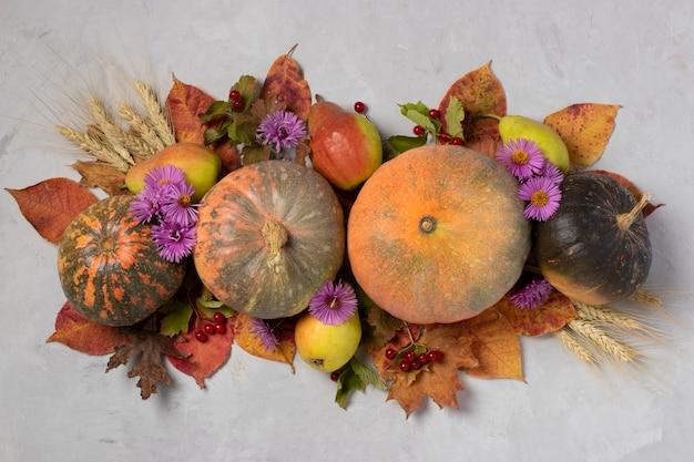 가을 수확 호박, 배, 잎, viburnum, 꽃과 회색 배경에 밀의 귀
