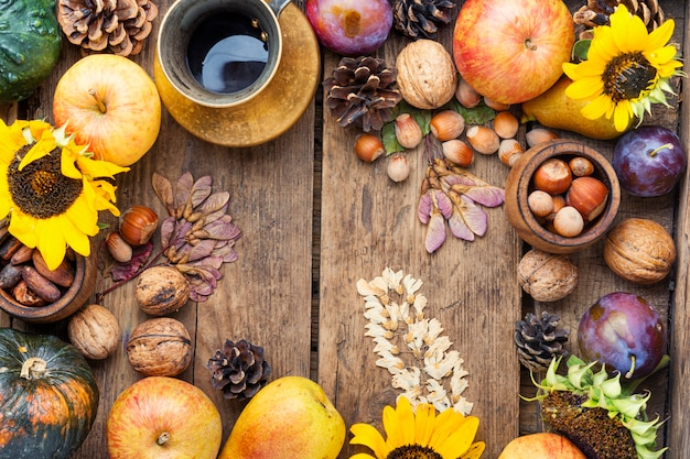 Autumn harvest still life frame background top view