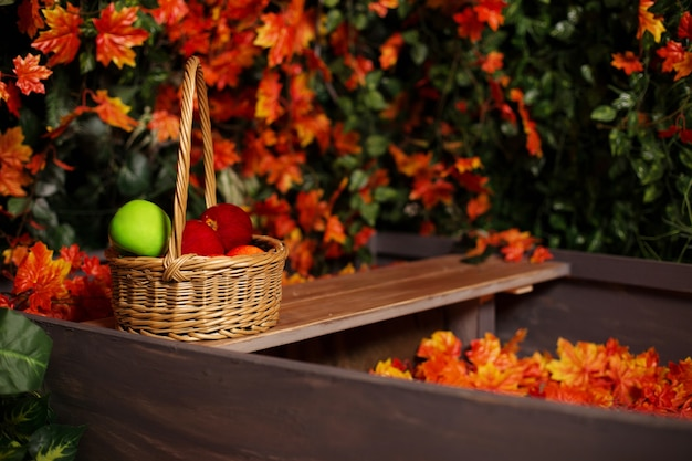 Autumn, harvest time. composition with a wicker basket