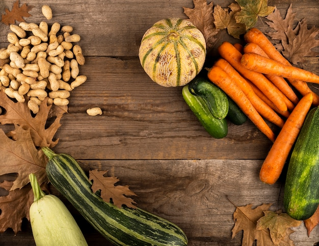 Autumn harvest on wooden background