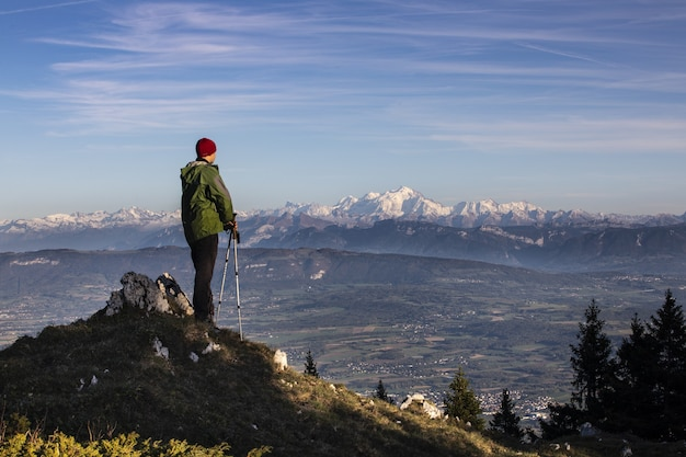 Autumn hiking in france with views on the alps