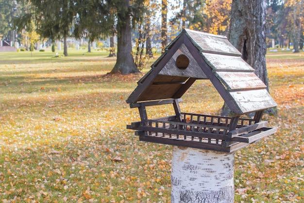 Осенний праздник парк скворечников. листопад на траву. концепция осеннего времени