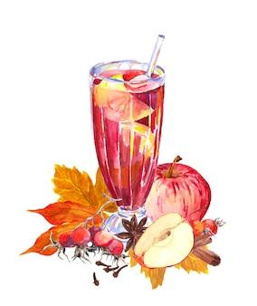 リンゴ、ベリー、スパイシー、秋の紅葉と秋のホットドリンク。ティータイムの水彩画