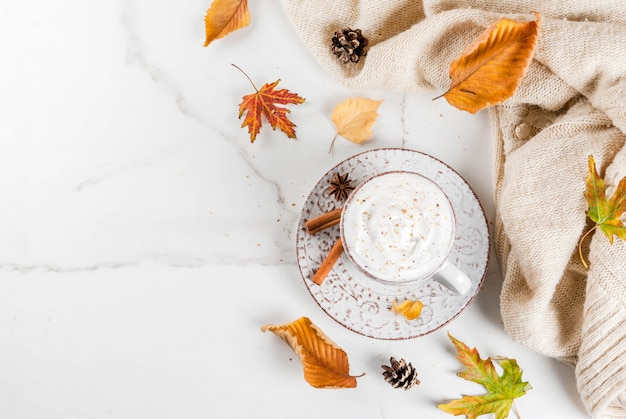 Autumn hot drinks. pumpkin latte with whipped cream, cinnamnd anise on a white marble table, with a sweater , autumn leaves and fir cones.  top view