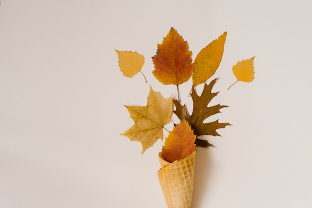 Autumn ice cream. creative layout of autumn leaves. yellow autumn fallen leaves in a waffle
