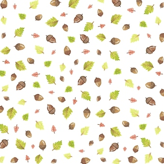 잎과 도토리 가을 일러스트 패턴