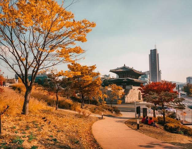 Осень в сеуле. парк с национальным зданием