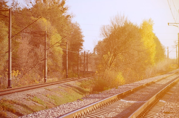 Autumn industrial landscape. railway receding into the distance among green and yellow autumn trees