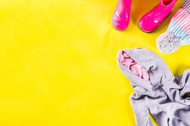 Autumn kids cloth concept, children's warm autumn clothe