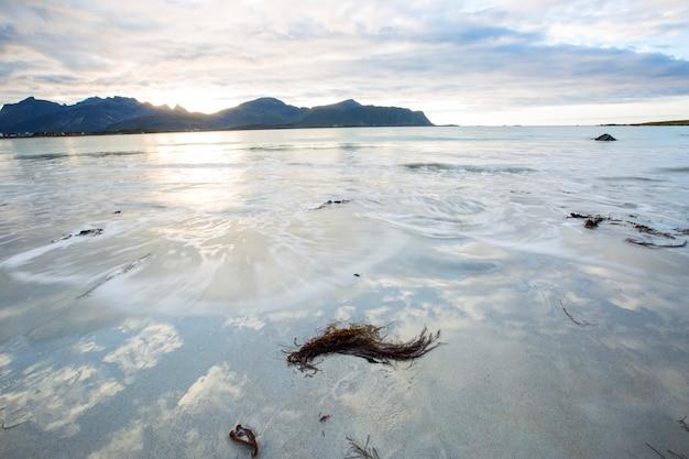 Осенний пейзаж и пляж на лофотенских островах, северная норвегия