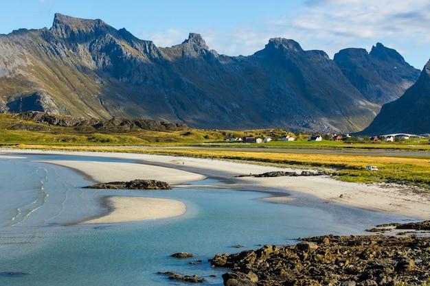 Autumn landscape and beach in lofoten islands, northern norway