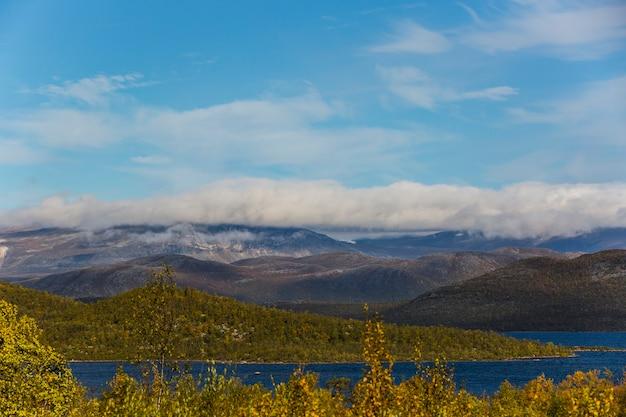 Autumn landscape in lapland, northern sweden. europe. Premium Photo
