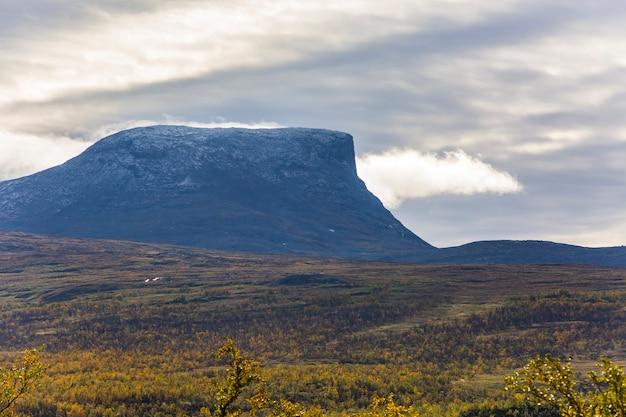 Autumn landscape in lapland, northern sweden. europe.