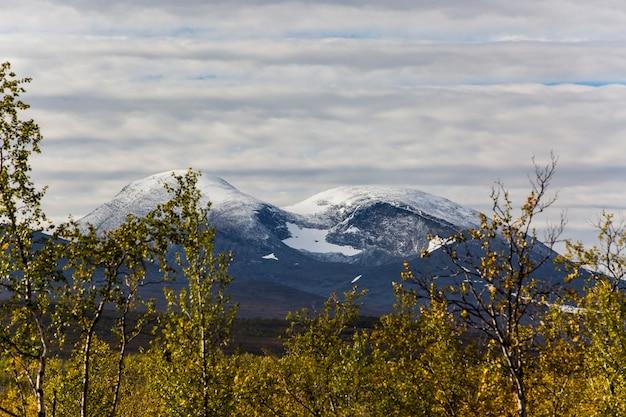 Autumn landscape in lapland, northern sweden