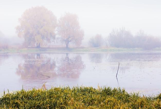 Autumn landscape overlooking the river