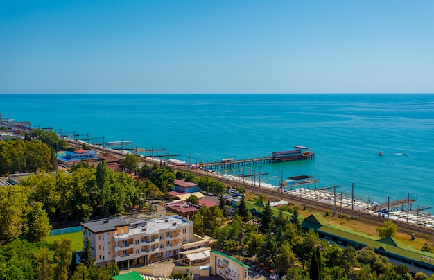Autumn landscape at the resort city of sochi on the black sea coast.