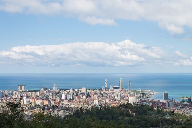 Autumn landscape. top view of the black sea, the seaport of batumi