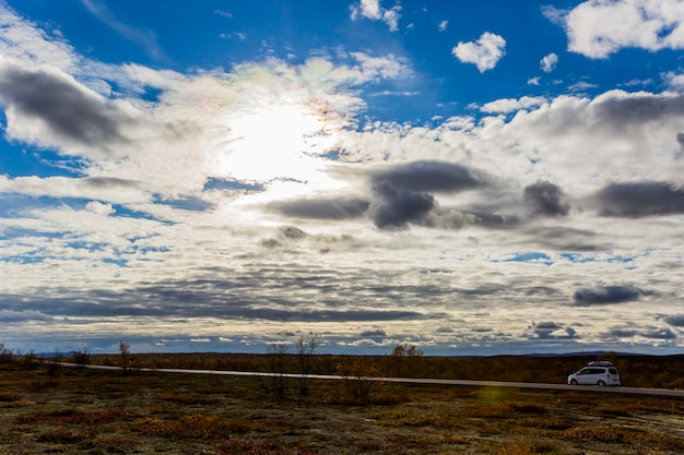 Autumn landscape in tundra, northern norway. europe.