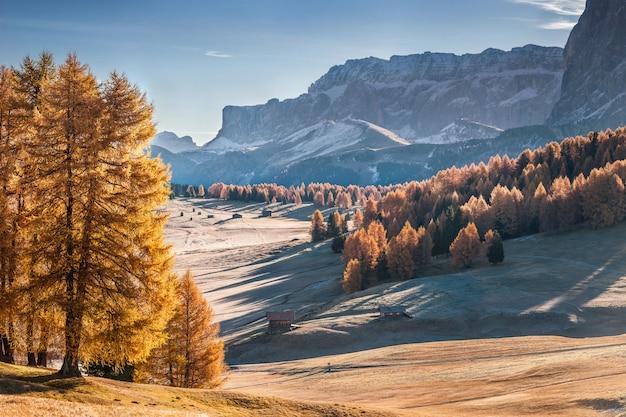 アルペデシウージ、ヴァルガルデーナ、ドロミテ、イタリアの山のある秋の風景