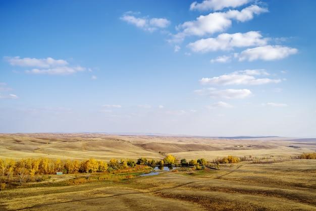 Orenburg 지역의 러시아에서 대초원 강 사진에 연못이 있는 가을 풍경을 촬영했습니다.