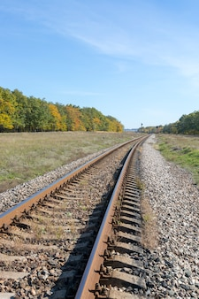 Autumn landscape with railway and oak grove