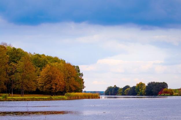 曇りの天気で川岸に川と森のある秋の風景