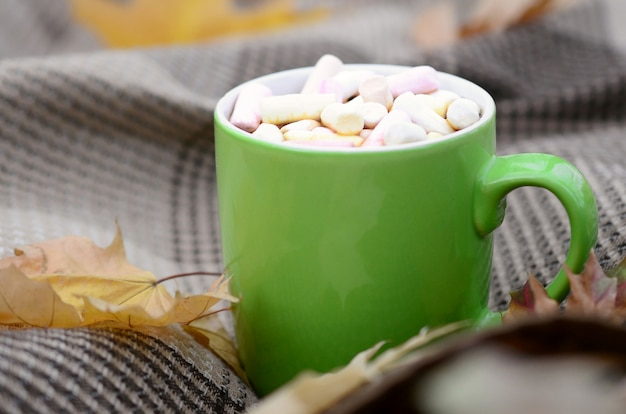 Осенние листья и горячая дымящаяся чашка кофе лежат на клетчатом пледе на открытом воздухе