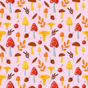 紅葉とキノコのシームレスなパターン。ピンクの背景に漫画風のキノコで手描きリピートプリント。テキスタイル、ファブリック、壁紙、包装紙、デザインの秋の自然の背景。