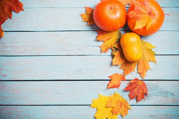 秋の紅葉と青い木製の壁にカボチャ