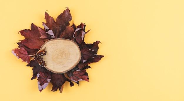 단풍과 따뜻한 색 바탕에 썰어 나무. 공간을 복사하십시오.