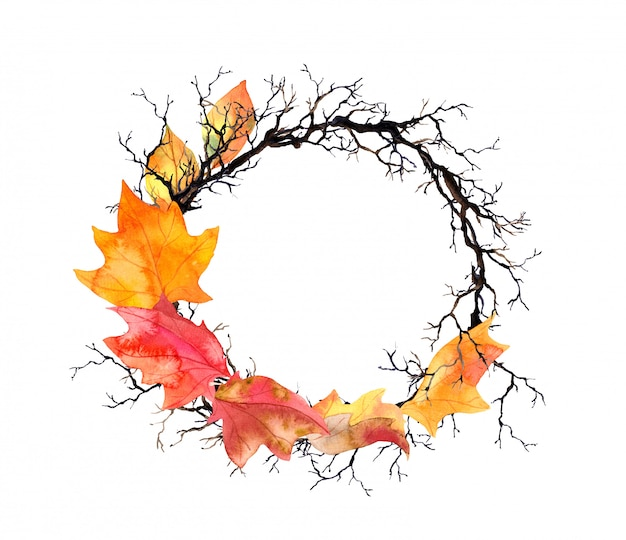 Autumn leaves, branches. watercolor autumn border wreath