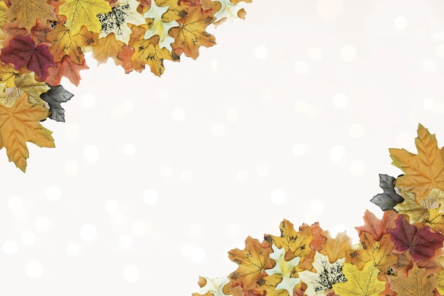 Autumn leaves corner frame pattern