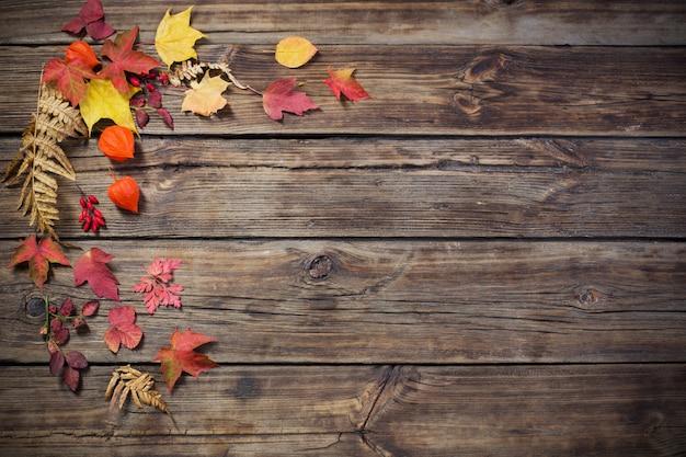 Autumn leaves on darrk old wood