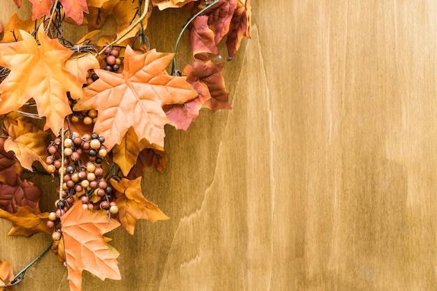 Autumn leaves decoration with space