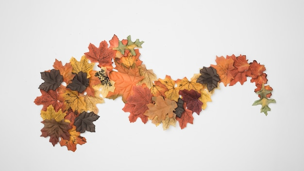 Autumn leaves designed as abstract figure